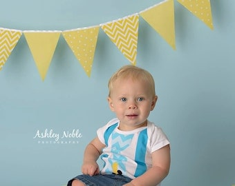 Bunting, Banner, Fabric Flags Garland Yellow and White, Polka Dot, Chevron, Solid Baby Nursery Decor, Birthday Party Banner, Photo Prop