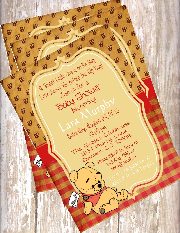Vintage Baby Shower Invitations ~ Winnie the pooh vintage baby shower invitations birthday