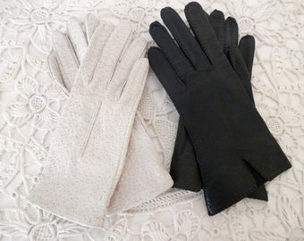 Vintage Gloves - White and Black Wrist Length - Leather - Size 6