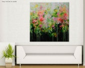 Large Abstract Painting pink orange green Painting-listen to my flowers grow Contemporary wall art canvas floral garden painting 40x40 Elena