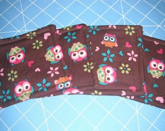Owls / Strawberries Drink Coasters set / Kitchen Accessories / Coasters / Hostess Gift / House warming