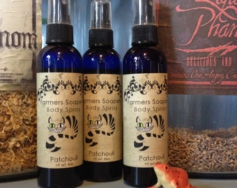 Patchouli Scented 4oz Body Spray Woodsy, Earthy, Essential Oil Body Spritz Fragrance Hair Conditioner Spray Perfume Scented Body Mist