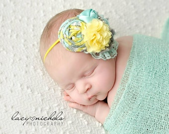 Sunshine + Rainshowers- aqua grey yellow  muted shades headband