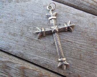 Large medieval cross handmade in sterling silver