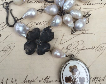 THE DOGWOODS - Superb French Mourning Locket Necklace with Baroque Pearls and Dogwood