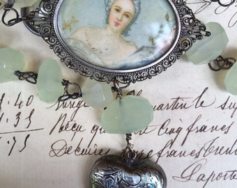 A FINE PORTRAIT -  Beautiful Filigree Portrait Miniature Necklace with Yellow Chalcedony and Heart