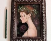 Pink Roses - Original Art 5x7 / Framed Gouache Painting / Rustic Bride Illustration / Flower Garland, Woman Portrait Painting