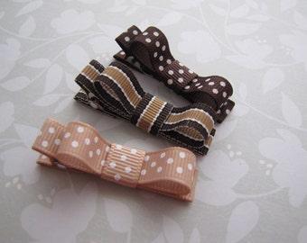 Mocha . tuxedo bow clippies . toddler hair accessory