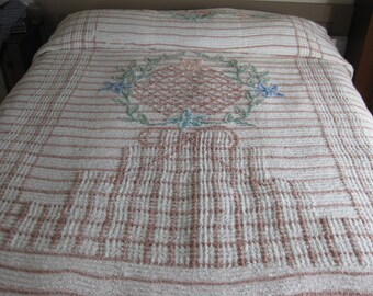 Vintage Chenille Cutter Or Not Double Bedspread