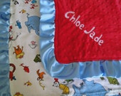 Personalized Dr Seuss Minky Blanket 18 x 22, You Choose Colors