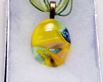 Summer Dance Fused Glass Round Yellow Pendant with Dichroic Glass