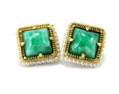Vintage WEISS Earrings, Green Stone and Pearls, Rare Square Shape, Clip on