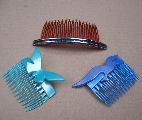 Decorative hair comb 3 coloured hair accessory hair jewelry - Decorative hair slides ...