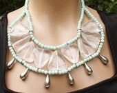 CLEARANCE HUGE Aqua Seafoam Beaded Bib Statement Necklace, Techno Collar