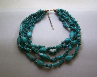 Multistrand Faux Turquoise Statement Necklace