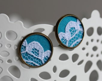 Teal Blue Post Earrings, Blue Lace Earrings, Teal Wedding Jewelry, Blue Stud Earrings, Unique Small Earrings, Teens, Women, Lace Jewelry