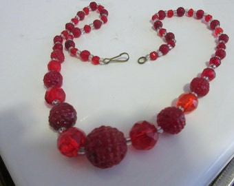 Art Deco Ruby Crystal Necklace