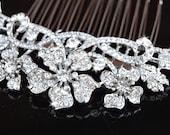 SEASON SALE -Bridal Crystal hair comb - wedding hair piece, Swarovski crystal flower hair comb- Vintage Glam / Garden wedding