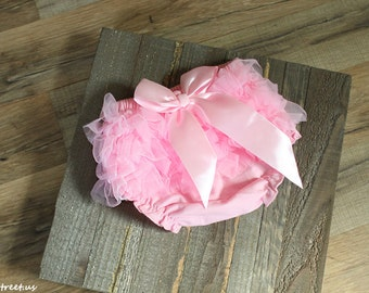 SALE Baby Diaper Cover, Baby Girl PInk Diaper Cover, Taupe Lace Diaper Cover, Pink Bow Baby Bloomers, Newborn Props, Baby Props