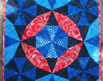 Patriotic Art Quilt Batik Kaleidoscope Quilted Red White Blue Freedom Land of the Free Quiltsy Handmade FREE U.S. Shipping