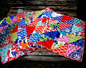 Beach House Table Runner Ocean Sea Quilted Nautical Bright Colors Quiltsy Handmade FREE U.S. Shipping