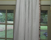 One Pair of Ruffled Linen Drapery Panels-Rod Pocket Header-Blackout Interlining-White Drapery Lining-Ruffled Leading Edges