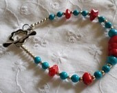 Turquoise and Coral and Sterling Silver Bracelet/Anklet