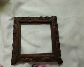 Antique Tramp Art Frame HandCarved OOAK