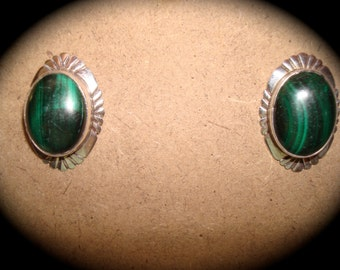Vintage Sterling and Malachite NAKAI Earrings.