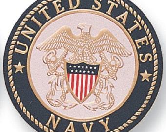"US NAVY Service Medallion / Seal, Aluminum, 2"" Diameter, Peel and Stick Adhesive Back"