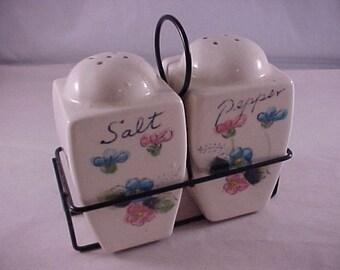 Porcelain Salt & Pepper Set in Wire Holder