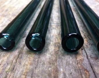 Set of 4 Aqua Blue Pyrex Glass Straws