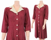 30s Dress /  Fruit of the Loom / Cotton Day Dress /  1930s Polka dot / Red / Medium to Large