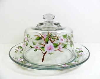 Cheese Dome Plate Hand Painted Pink Apple Blossom