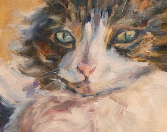 Cat Painting, Animal art, Calico Cat, Maine Coon, Feline Art, Pet Portrait, painting of a cat, Original oil, cat's face, gift idea
