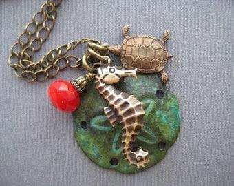 Seahorse Necklace - Seahorse Jewelry - Sea Turtle Necklace - Sand Dollar Necklace - Sand Dollar Jewelry - Sea Turtle Jewelry - Ocean Jewelry