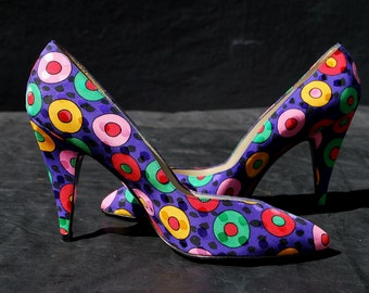 Vintage 80's color polka dots STUART WEITZMAN pumps Shoes leather silk size 8 B USA by thekaliman