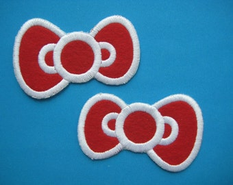 2 pcs Iron-on Embroidered Patch Bow Hairclip 3.3 inch