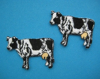2 pcs Iron-on Embroidered Applique Milk Cow 1.5 inch