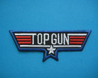 Sale~ Iron-on Embroidered Patch TOP GUN 4 inch