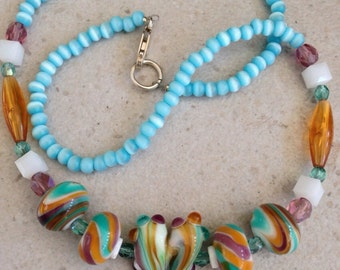 Blueberry and Caramel Swirl Necklace