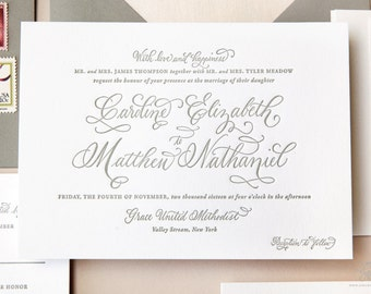 INVITATION SAMPLE The Flutter Suite - Grey Letterpress Calligraphy Wedding Invitation - Heirloom Wedding Invitations by Sincerely, Jackie