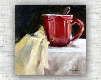 Coffee Cup Painting Print of Still Life Oil Painting flower Home Decor Wall Art, Red Colorful Kitchen Decor, Farmhouse Dining Room Art Print