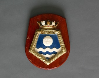 1960s British Navy Plaque from the H.M.S. Pheobe - Royal Crest - Ships Badge