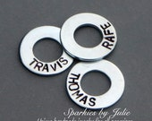 "ADD ON - Custom Hand Stamped Washer, 3/4"" Personalized With Word or Name, Add to the Year Est. Key Chain"