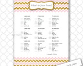 What's in Your Purse Baby Shower Game, pink and gold chevron, instant download, girl baby shower games