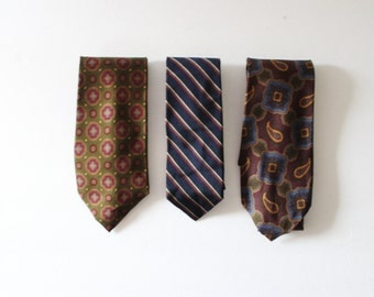 Collection of 3 1980s Ralph Lauren and Chaps Designer Silk Ties, various patterns, stripes
