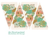 Floral Print Garland / Bunting Party Decoration 4x6 Printable