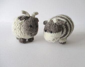 Bramble Goat and Chestnut Cow toy knitting patterns