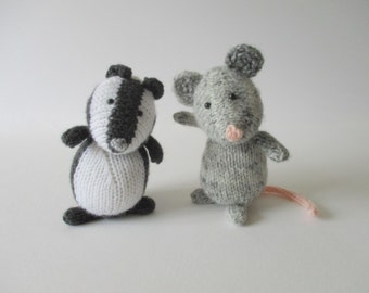 Bubble Badger and Squeak Mouse toy knitting patterns